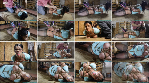 Super bondage, hogtie and torture for a hot brunette