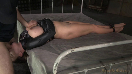 Krissy Lynn's booming breasts and butt straightjacketed and roughly fucked BDSM