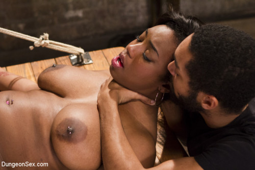 DOWNLOAD from FILESMONSTER: bdsm Voluptuous Ebony Babe is Tied and Fucked with 2 Massive Cocks!!