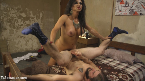 Jaquline Braxton Catches Pervy Peeping Tom and Seduces him with her Hard Cock and Luscious Ass. SheMale