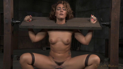 Toned Savannah Fox in stocks stuck on sybian with massive multiple orgasms BDSM