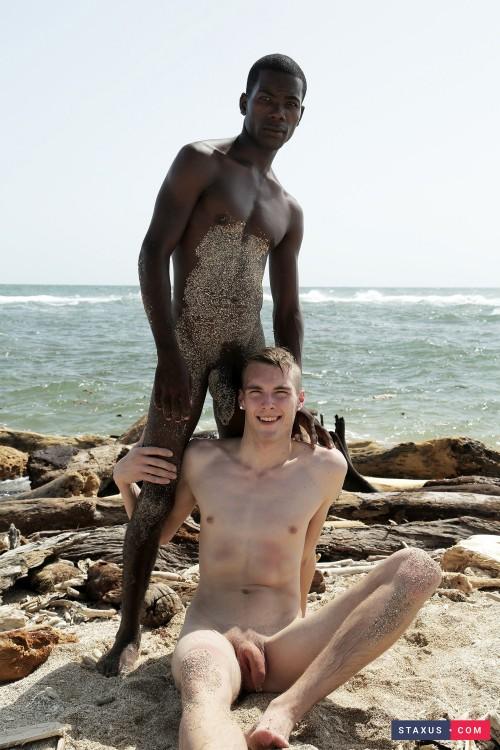 Beach-time fun Mike James as he sucks fucks Devon LeBron's mammoth black dick! (2015)