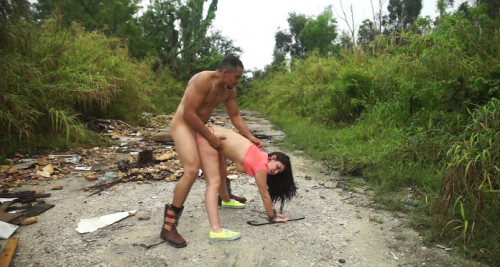 Rope bondage, domination, Rough sex and deepthroat blowjobs, all outdoors in public
