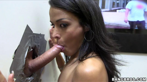 She visits the gloryhole and sucks a lot of dick and cum