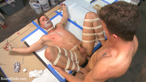 Gay BDSM Fucking on the job Stud with a fat cock dominates his creepy coworker