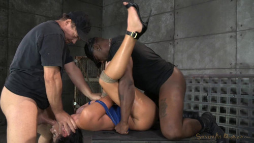 bdsm India Summer bound, ragdoll fucked without mercy, brutal deepthroat and multiple orgasms