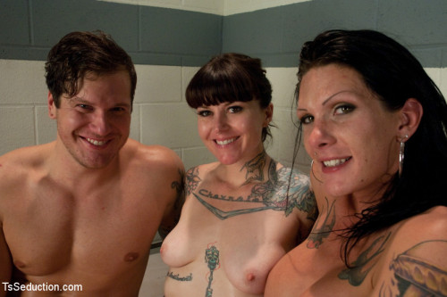Tattoo Confidential: Ts Morgan Bailey Dominates in a Threesome. Double Penetration & Cum Swapping SheMale