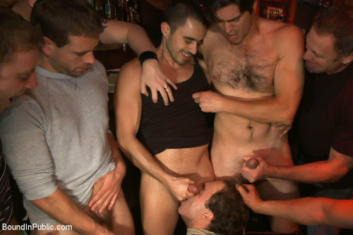 Gay BDSM Horny men attack a hot pole dancer at a local strip joint