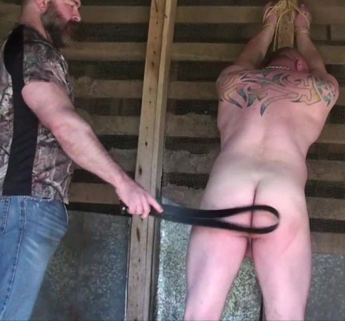 Gay BDSM Beaten and Bred In The Woodshed