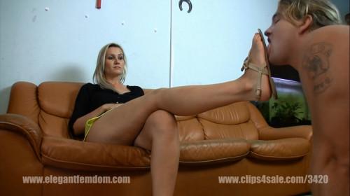 Femdom and Strapon Elegant Femdom Sandal Licking