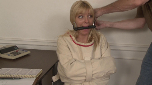 bdsm Bound and Gagged - Straightjacket Bondage with Mitts Inside - Niki Lee Young