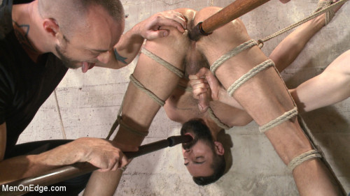 Gay BDSM First timer with a giant cock gets suspended and edged above the drill court