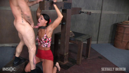 bdsm London River bound over sybian and face fucked, having brutal orgasms that test her restraints