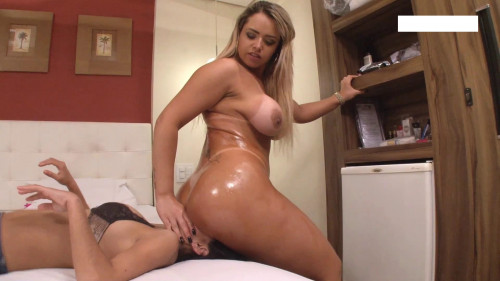 Femdom and Strapon Under gorgeous ass owner of magnificent forms