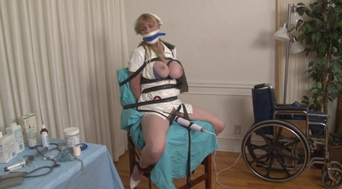 bdsm Nurse Boobie is Rubber-Bound and Wrap-Gagged for Orgasm