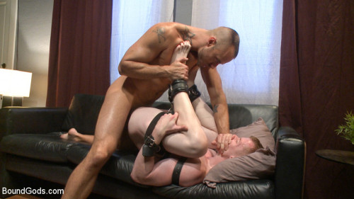 Gay BDSM Bound missionary gets split wide open with double fisting and sounding