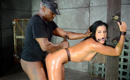 bdsm MILF India Summer belted down to a post and bred, 10 inch BBC and creampies