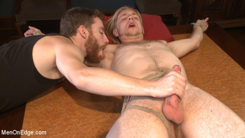 Gay BDSM Straight surfer boy blows a huge load for his first prostate milking