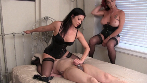 Femdom and Strapon Edging a Useless Dick