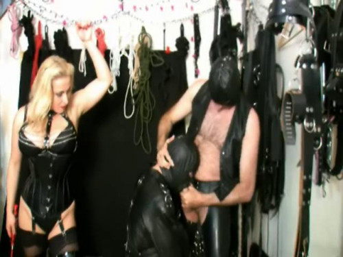 Femdom and Strapon Suck His Cock Slave