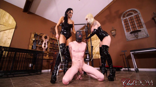 Femdom and Strapon Toy for Two Sadists
