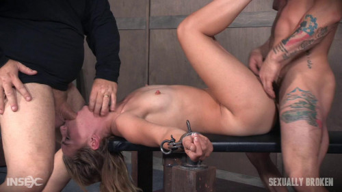 bdsm Domme Mona Wales, is bound down and brutally dicked down, rough face fucking and Os