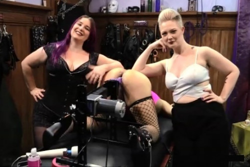 Femdom and Strapon Sissy Fucking Machine Humiliation - FemDom Threesome With Denali Winter