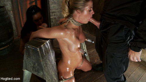 DOWNLOAD from FILESMONSTER:  BDSM Extreme Torture  Elbows bound, knees on hard wood, nipple suction, neck rope, breath play, face fucking, made to cum!