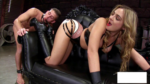 Femdom and Strapon Amazonian Boot Cleaning