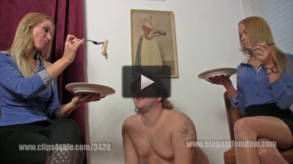Mistress Demona and Lady Becca slave feeding (2016)