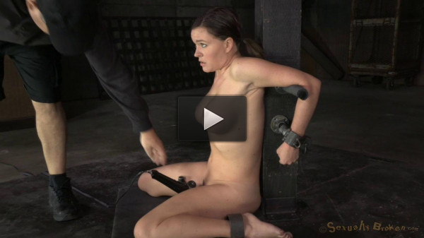 Krissy Lynn Bound In Strict Device Bondage And Throatboarded By 2 Cocks!