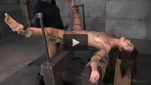 Asian slut Marica Hase roughly fucked by 10 inch BBC in strict bondage, cums hard and fast!