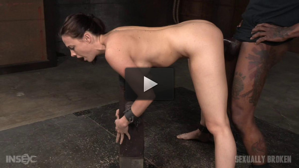 Shackled slut fucked hard by two big dicks