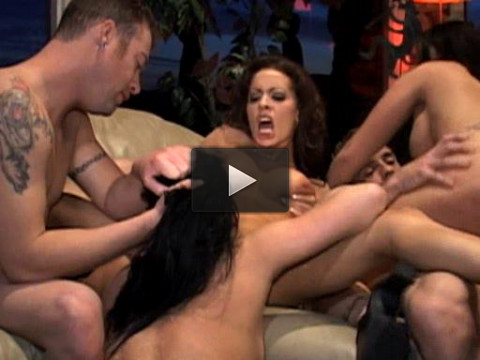 Brunette bitch passionate staged a swinger orgy