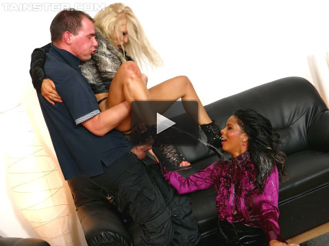 Fully Clothed Girls Both Take Their Turn Riding That Cock
