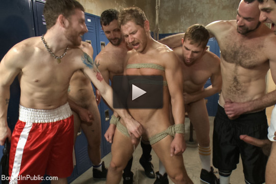 Loudmouth Gym Freak Fucked and Pissed on in Boxing Gym Locker Room