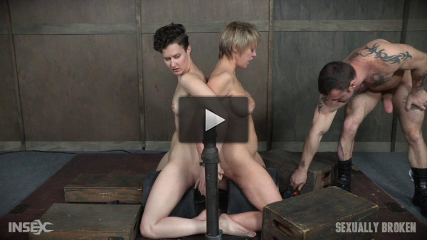 Bonnie Day & Dee Williams both bound and cumming on a sybian while brutally face fucked!