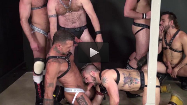 Brutal gangbang with bears & hot boys
