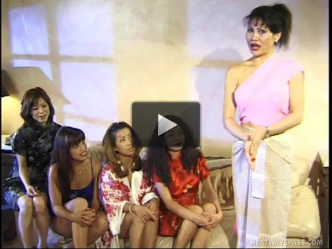 Intense five girl Asian Lesbian party