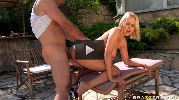 Nice Blonde Babe Sunbathed At The Pool