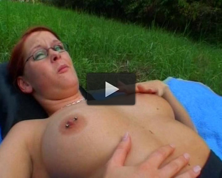 Self pussy teasing outdoors