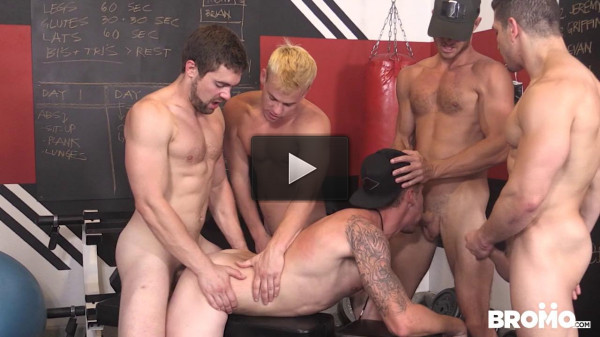 Five Dudes Fuck in the Gym (720p)