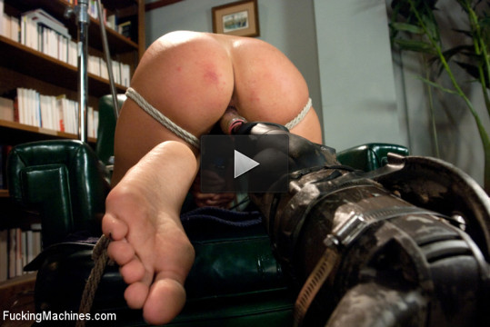 A/C and Rope: Squirting Damsel Machine Fucked in Bondage