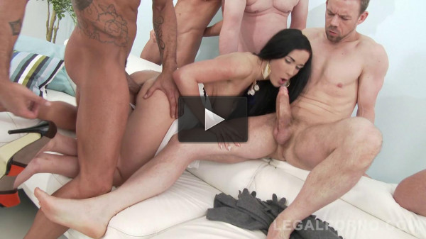 Intense anal gangbang & DP with many monster cocks