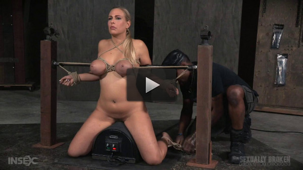 Big breasted blonde on sybian facefucked without mercy by BBC