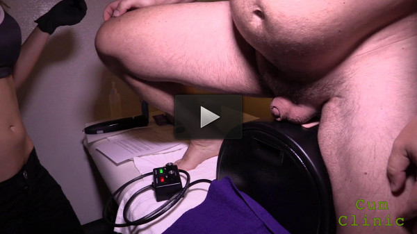 Prostate massage is brought to orgasm with a penis fountain