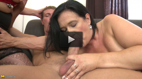 Three lustful old woman fucked a young gigolo