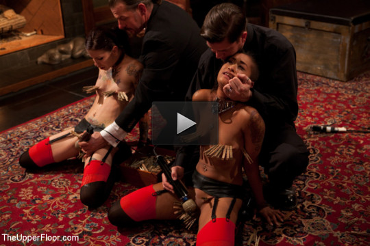 Bound slave girls deep throating cock gags
