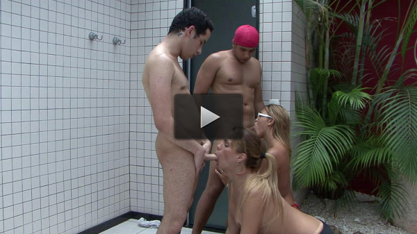 Bi guys fuck with hot girl and busty shemale