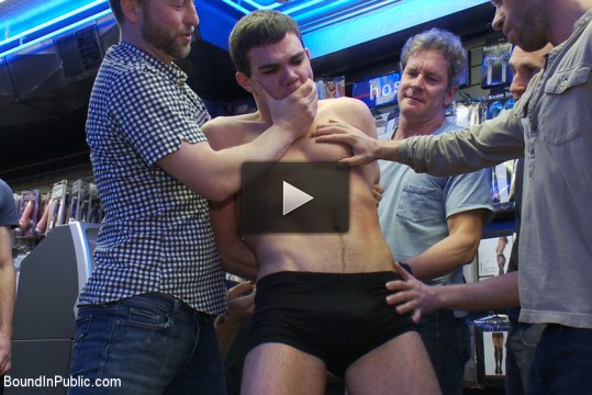 Kink: Bound In Public - Horny men take down a cocky hustler at a busy sex arcade